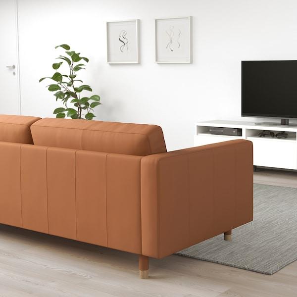 LANDSKRONA 3-seat sofa Grann/Bomstad golden-brown/wood 204 cm 89 cm 78 cm 5 cm 64 cm 180 cm 61 cm 44 cm 4 pieces