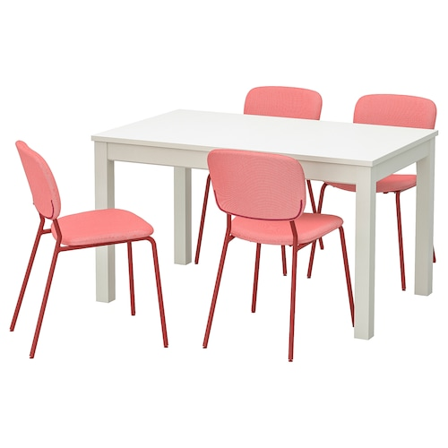 LANEBERG / KARLJAN table and 4 chairs white/red red 190 cm 130 cm 80 cm
