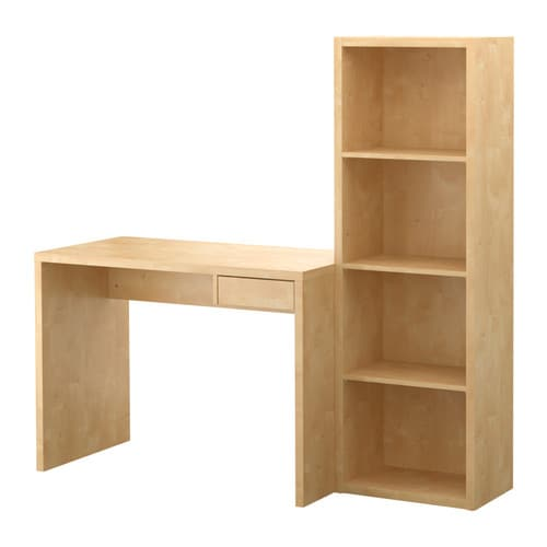 LASSE Desk with bookcase   Adjustable shelves; adjust according to need.