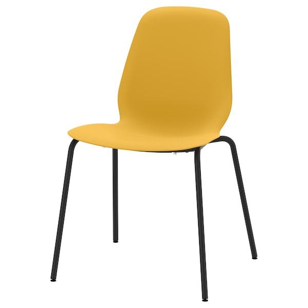 LEIFARNE Chair, dark yellow/Broringe black