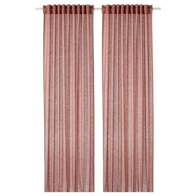 LEJONGAP Curtains, 1 pair, light brown-pink, 145x250 cm