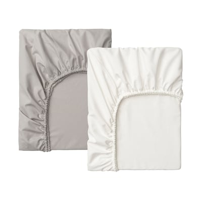 LENAST Fitted sheet for cot, white/grey, 60x120 cm