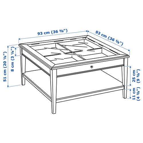 LIATORP Coffee table, white/glass, 93x93 cm