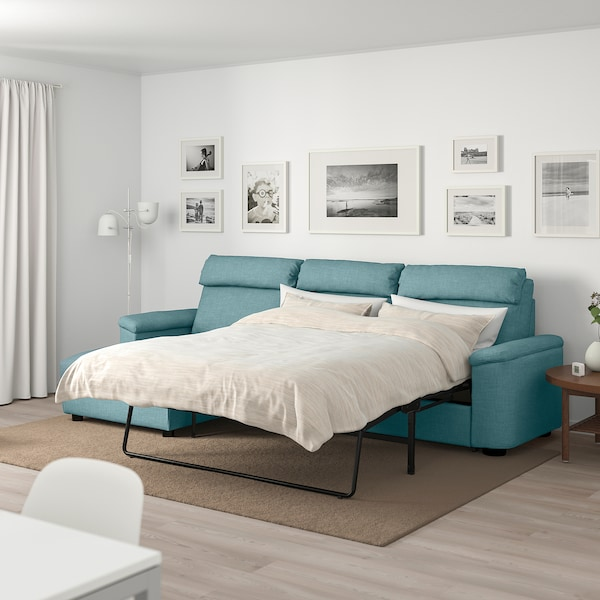 LIDHULT 3-seat sofa-bed, with chaise longue/Gassebol blue/grey