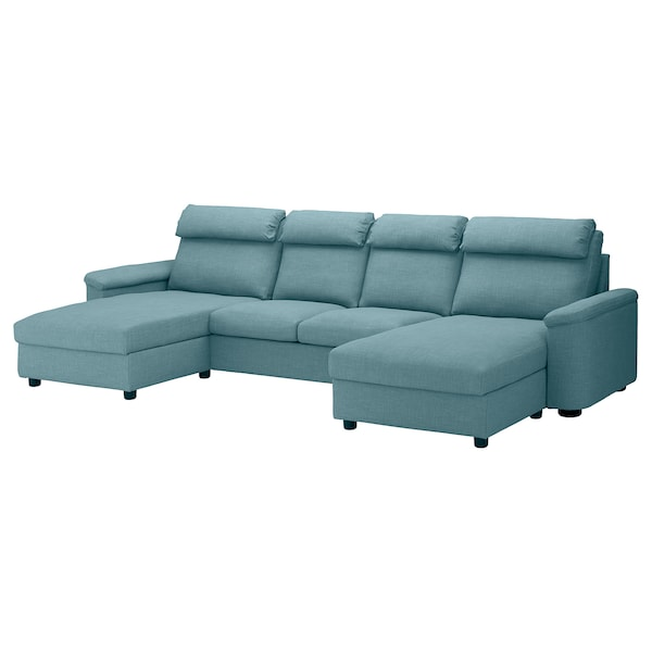 LIDHULT 4-seat sofa, with chaise longues/Gassebol blue/grey