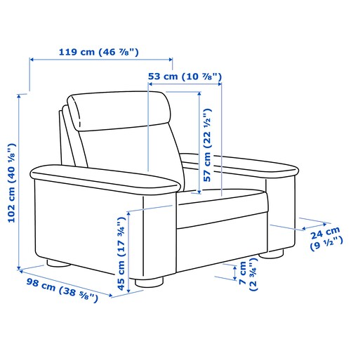 LIDHULT Armchair, Gassebol blue/grey