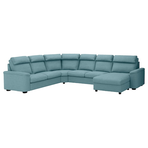 LIDHULT corner sofa, 6-seat with chaise longue/Gassebol blue/grey 102 cm 76 cm 164 cm 120 cm 367 cm 275 cm 7 cm 53 cm 45 cm