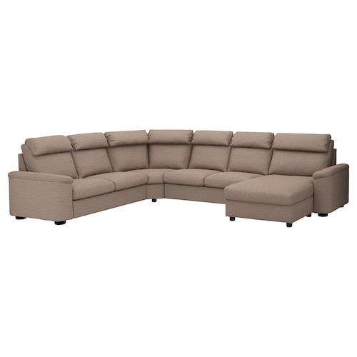 LIDHULT corner sofa, 6-seat with chaise longue/Lejde beige/brown 102 cm 76 cm 164 cm 98 cm 120 cm 367 cm 275 cm 7 cm 53 cm 45 cm