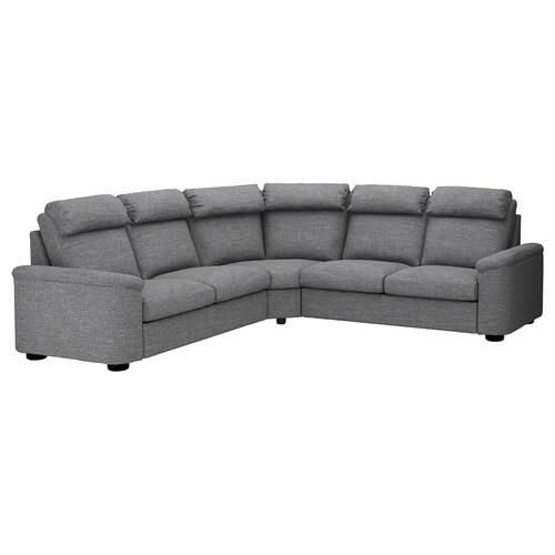 LIDHULT corner sofa-bed, 5-seat Lejde grey/black 102 cm 76 cm 98 cm 294 cm 275 cm 7 cm 53 cm 45 cm 140 cm 200 cm