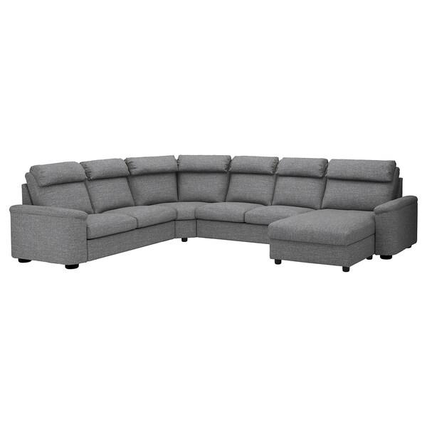 Corner sofa-bed, 6-seat LIDHULT with chaise longue, Lejde grey/black