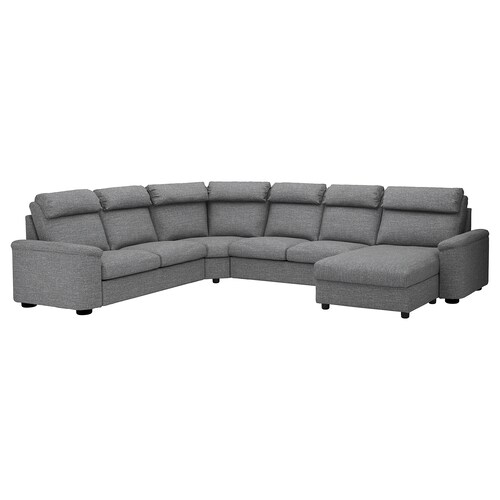 LIDHULT corner sofa-bed, 6-seat with chaise longue/Lejde grey/black 102 cm 76 cm 164 cm 98 cm 387 cm 275 cm 7 cm 53 cm 45 cm 140 cm 200 cm