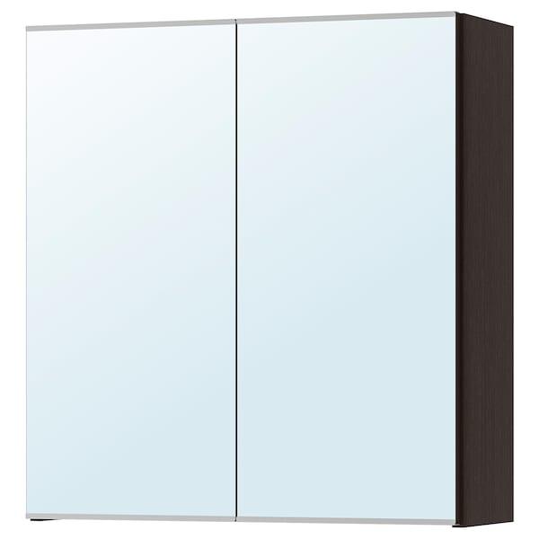 LILLÅNGEN Mirror cabinet with 2 doors, black-brown, 60x21x64 cm