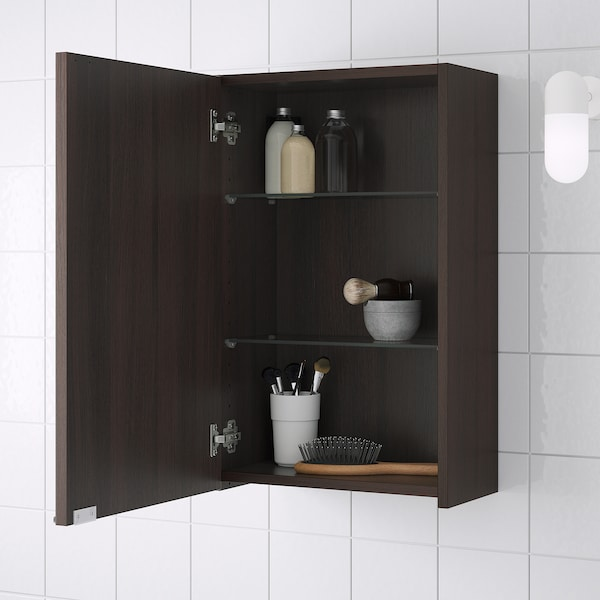 LILLÅNGEN Wall cabinet, black-brown, 40x21x64 cm