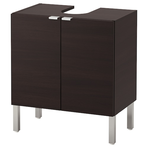 LILLÅNGEN washbasin base cabinet with 2 door black-brown 60 cm 38 cm 66 cm