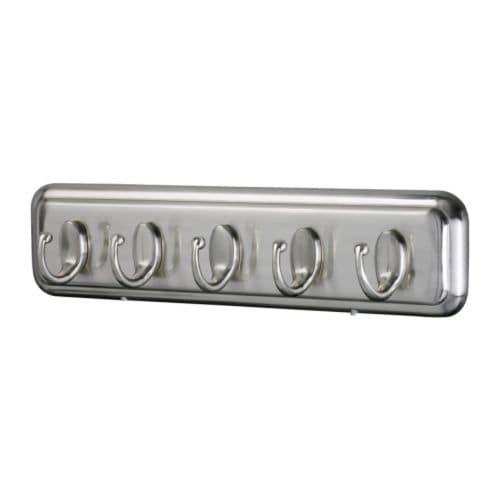 LILLHOLMEN Rack with 5 hooks   Concealed mounting fittings.