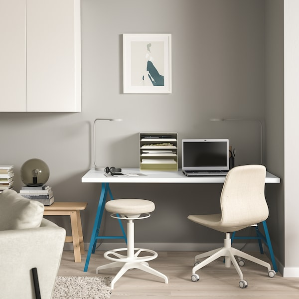 LINNMON / LERBERG table white/blue 150 cm 75 cm 74 cm 50 kg