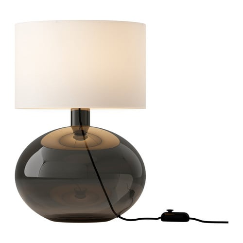 LJUSÅS YSBY Table lamp   Shade of textile; gives a diffused and decorative light.  Dimmer function; adjust the light intensity according to need.