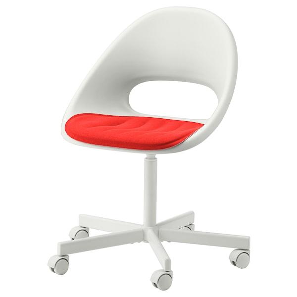 LOBERGET / BLYSKÄR Swivel chair with pad, white/red