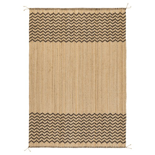 LÖNHOLT Rug, flatwoven, natural/dark brown, 160x230 cm