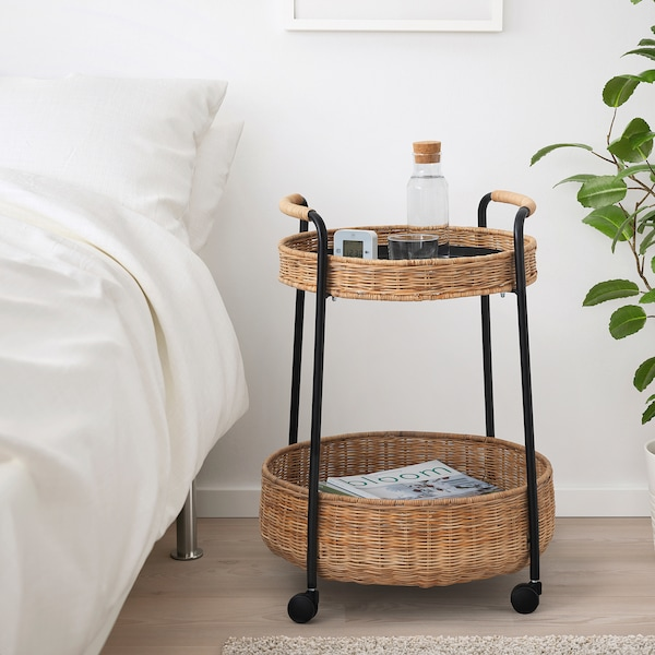LUBBAN Trolley table with storage, rattan/anthracite
