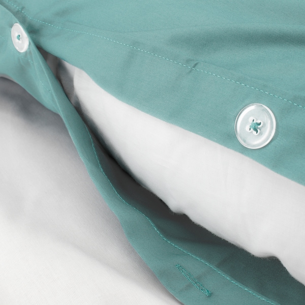 LUKTJASMIN Duvet cover and pillowcase, grey-turquoise, 150x200/50x80 cm
