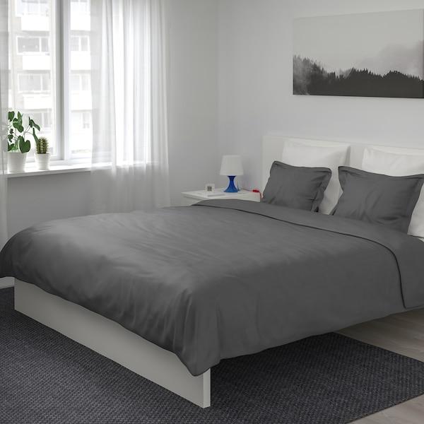 LUKTJASMIN quilt cover and 2 pillowcases dark grey 310 /inch² 2 pieces 220 cm 240 cm 50 cm 80 cm