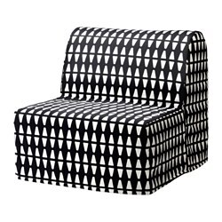 LYCKSELE chair-bed black and white, with MURBO mattress