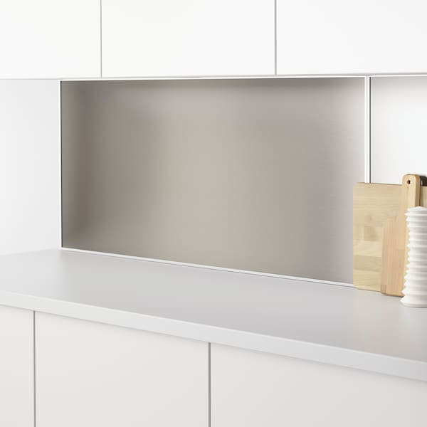 LYSEKIL Wall panel, double sided brass-colour/stainless steel colour, 119.6x55 cm