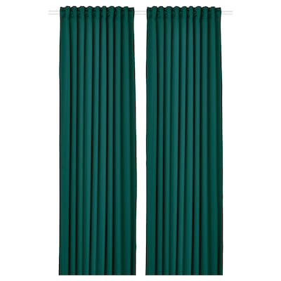 MAJGULL Block-out curtains, 1 pair, dark turquoise, 145x250 cm