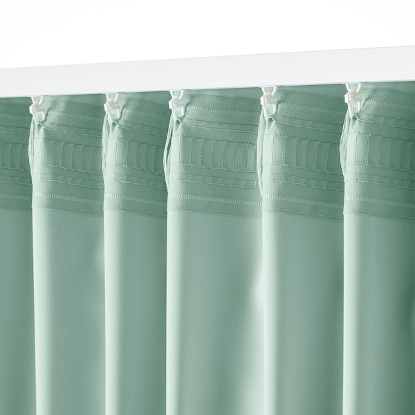 MAJGULL Room darkening curtains, 1 pair, light green, 145x250 cm