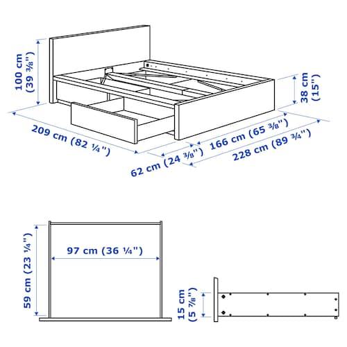 MALM Bed frame, high, w 2 storage boxes, white/Luröy, 150x200 cm