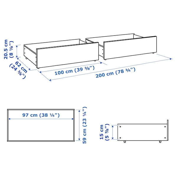 MALM bed storage box for high bed frame white 15 cm 100 cm 62 cm 29 cm 97 cm 59 cm 2 pieces 200 cm