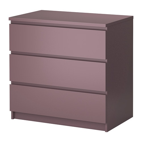 MALM Chest of 3 drawers   Extra roomy drawers; more space for storage.  Smooth running drawers with pull-out stop.