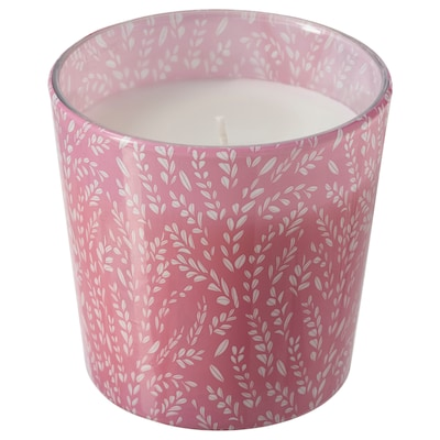 MEDKÄMPE Scented candle in glass, Summer fields/pink, 7.5 cm