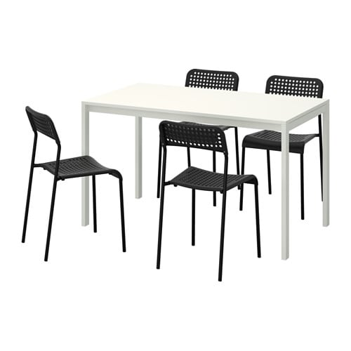 Melltorp Adde Table And 4 Chairs Ikea The Melamine Top Is Moisture Resistant