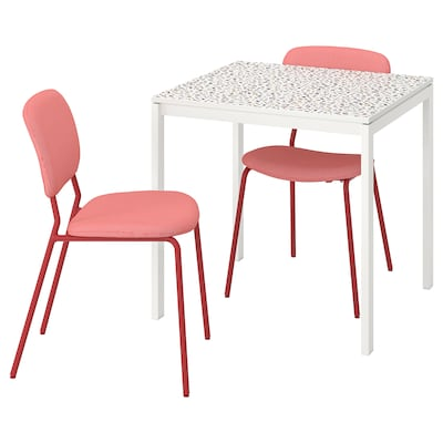 MELLTORP / KARLJAN Table and 2 chairs, mosaic patterned white/Kabusa red, 75x75 cm