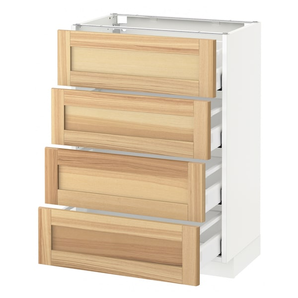METOD Base cab 4 frnts/4 drawers, white Maximera/Torhamn ash, 60x37x80 cm
