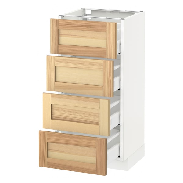 METOD Base cab 4 frnts/4 drawers, white Maximera/Torhamn ash, 40x37x80 cm