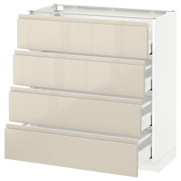 METOD Base cab 4 frnts/4 drawers, white Maximera/Voxtorp high-gloss light beige, 80x37x80 cm