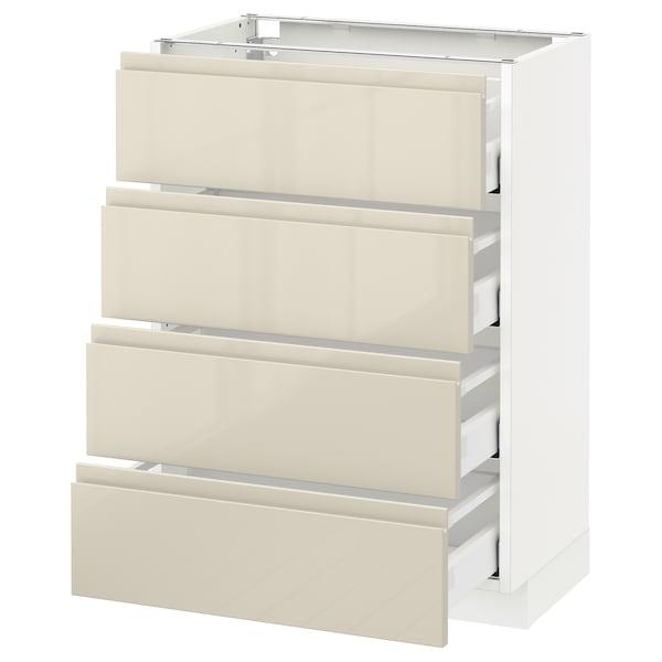 METOD Base cab 4 frnts/4 drawers, white Maximera/Voxtorp high-gloss light beige, 60x37x80 cm