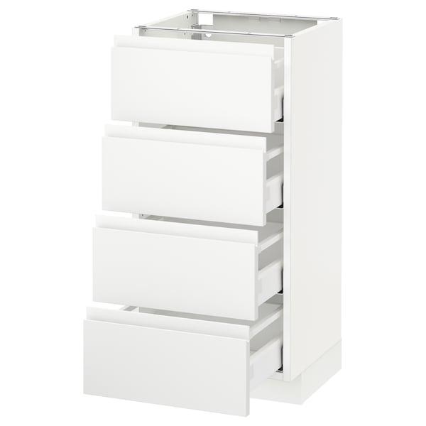 METOD Base cab 4 frnts/4 drawers, white Maximera/Voxtorp matt white, 40x37x80 cm