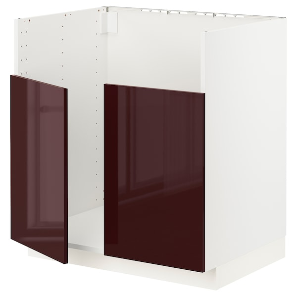 METOD Base cab f BREDSJÖN dbl bowl sink, white Kallarp/high-gloss dark red-brown, 80x60x80 cm