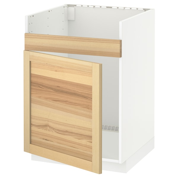 METOD Base cab f HAVSEN single bowl sink, white/Torhamn ash, 60x60x80 cm