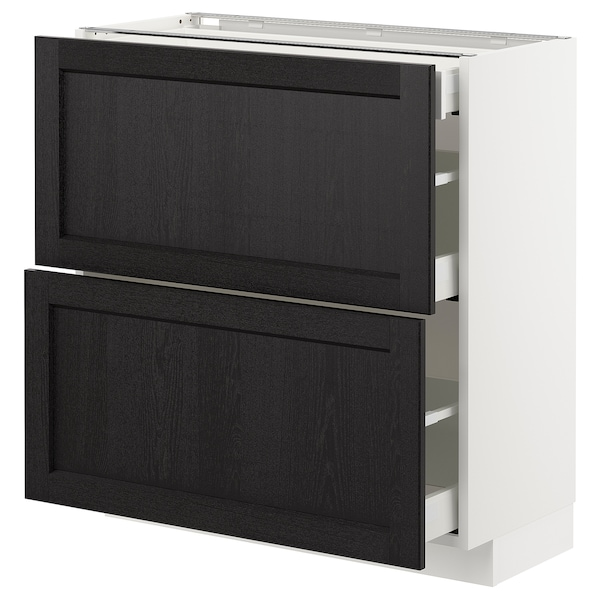 METOD Base cab with 2 fronts/3 drawers, white Maximera/Lerhyttan black stained, 80x37x80 cm