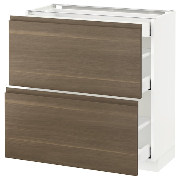 METOD Base cab with 2 fronts/3 drawers, white Maximera/Voxtorp walnut, 80x37x80 cm