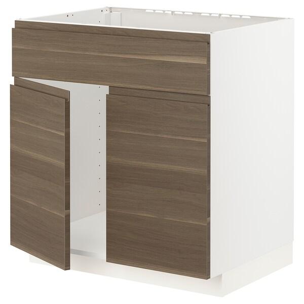 METOD Base cabinet f sink w 2 doors/front, white/Voxtorp walnut effect, 80x60x80 cm