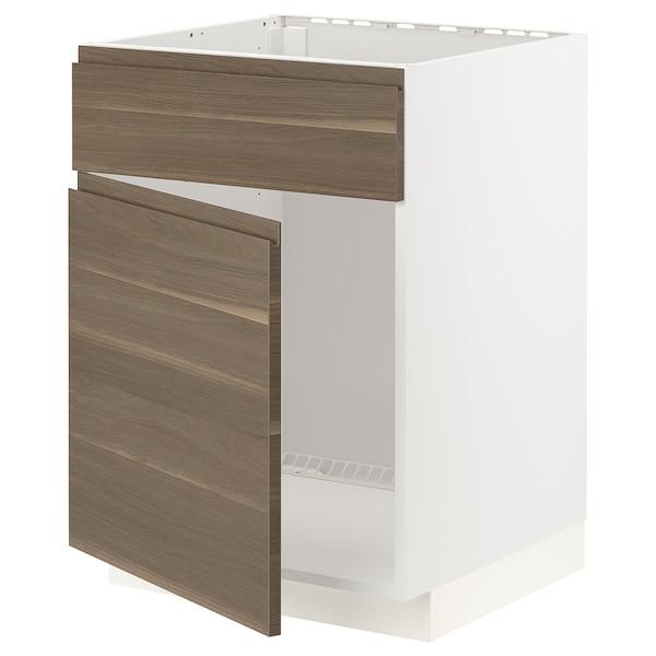 METOD Base cabinet f sink w door/front, white/Voxtorp walnut effect, 60x60x80 cm