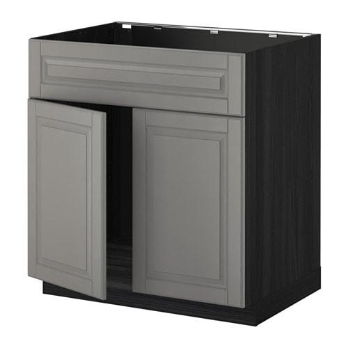 METOD Base cabinet f sink w 2 doors/front - wood effect black ...