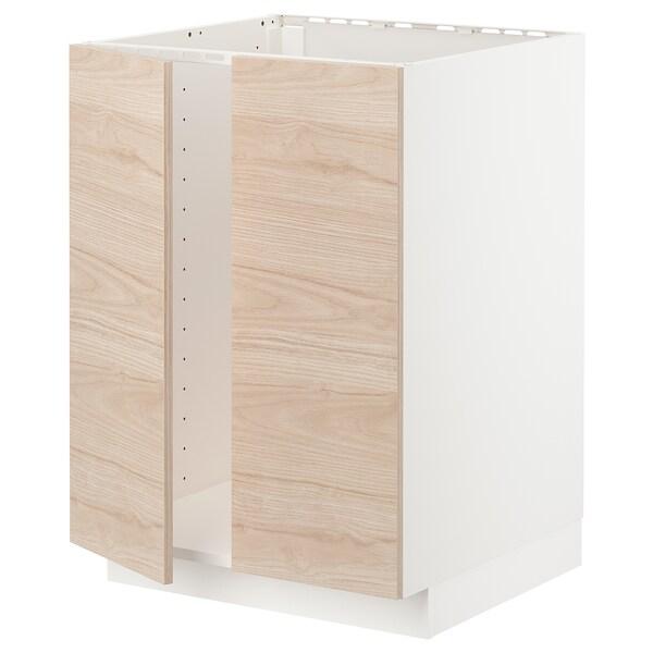 METOD Base cabinet for sink + 2 doors, white/Askersund light ash effect, 60x60x80 cm