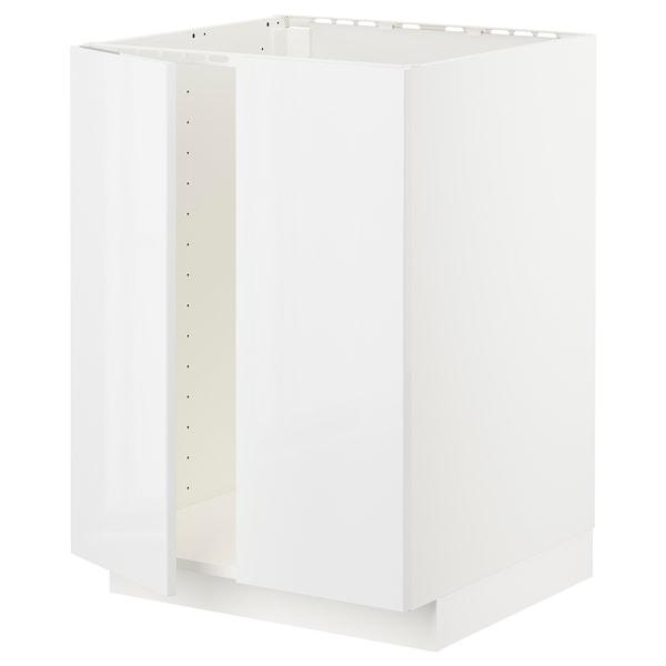 METOD Base cabinet for sink + 2 doors, white/Ringhult white, 60x60x80 cm